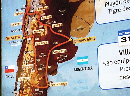 ダカールラリー2009のコースマップ