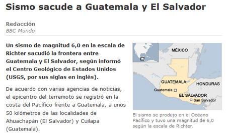 グアテマラとエルサルバドルの地震についてのBBC Mundoのキャプ
