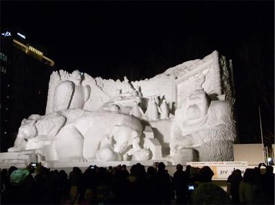 札幌雪まつりの大雪像 ディズニー