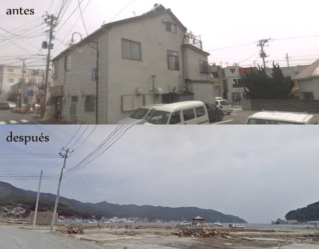東日本大震災の前と後の画像