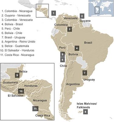 領土問題を抱えているラテンアメリカの国々