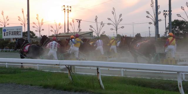 帯広ばんえい競馬場レースの様子
