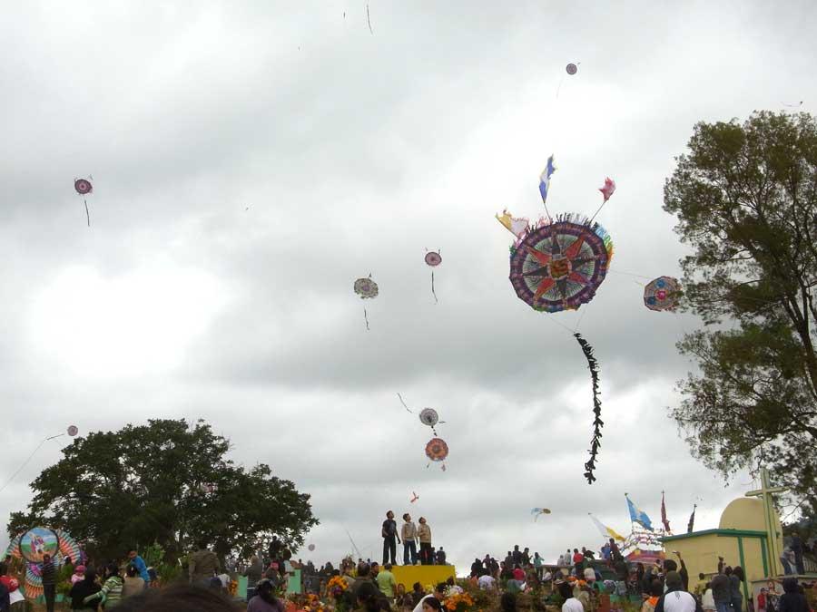 グアテマラの死者の日にあげる凧を見る人