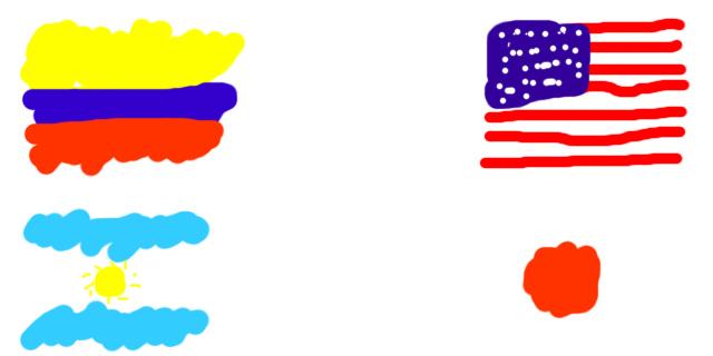 コロンビア、アルゼンチン、アメリカ、日本の国旗