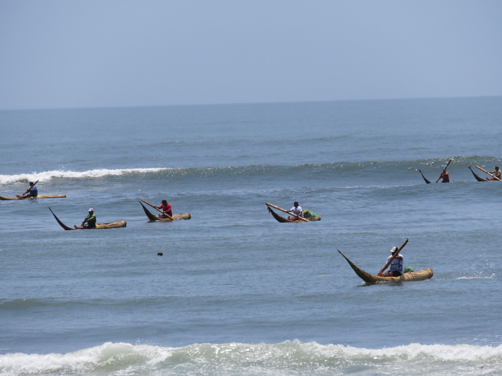トトラ舟で漁をするワンチャコの漁師