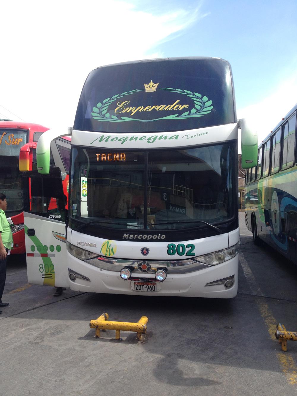 アレキパ発タクナ行きのバス