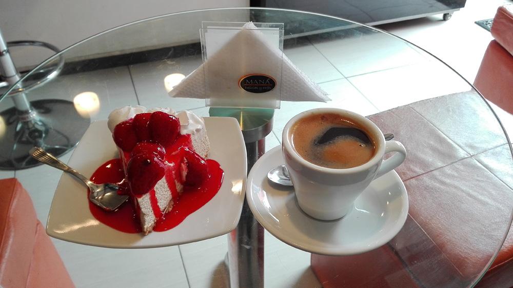 アレキパのカフェCafeteria Manáのコーヒー